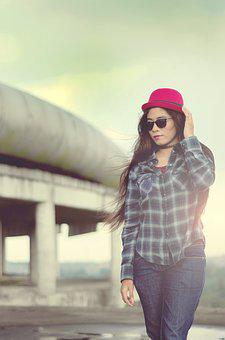 Women, Cheerful, Model, Indonesian Women, Red Hat