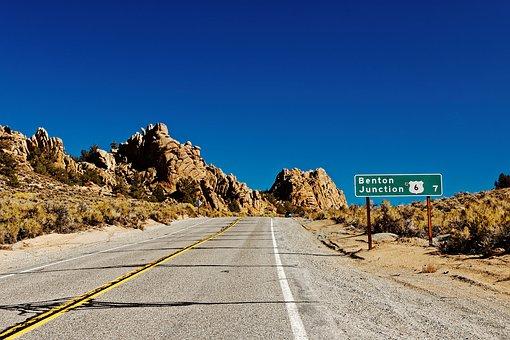 Road, Desert, Shield, Landscape, California, Usa