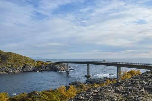 Mountain, Infrastructure, Bridge, Rocks, Sea, Water