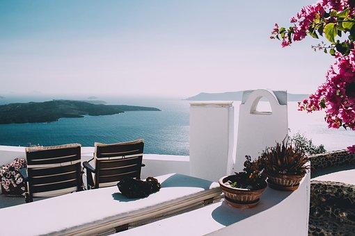 Mountain, Sea, Ocean, Water, Building, Resort, Chairs