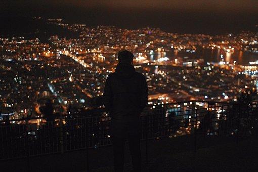 Urban, City, Night, Lights, People, Guy, Shadow