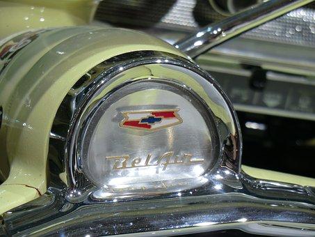 Oldtimer, Chevrolet, Cockpit, Us-cars, Belair, Logo