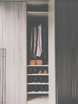 Wardrobe, Closet, Cabinet, Door, Open, Shoes, Clothing