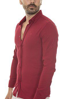 Shirt, Red, Male, Detail, Young Model, Vivid Color