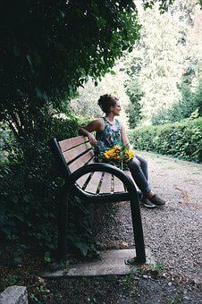People, Girl, Sitting, Waiting, Alone, Bench, Nature