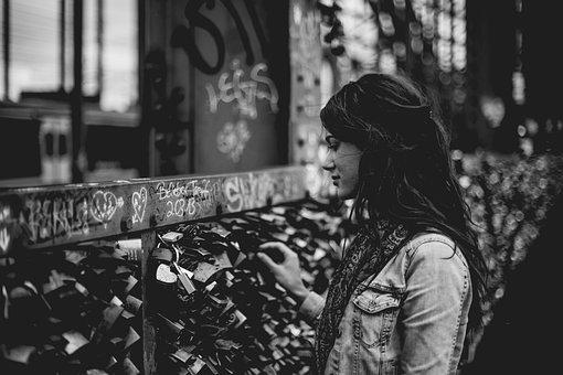 Girl, Beauty, Alone, People, Locks, Metal, Fence
