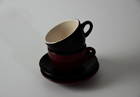 Ceramic, Cup, Red, White, Black, Kitchen, Utensil