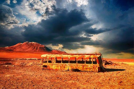 Abandoned, Wreck, Rusty, Bus, Coach
