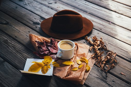 Brown, Cap, Hat, Coffee, Cup, Paper, Leaves, Fall