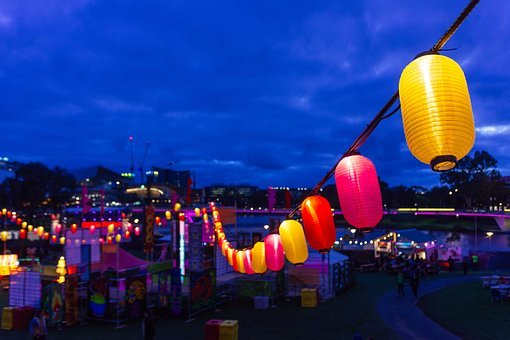 Blue, Sky, Dark, Night, Fair, Fun, Lights, Lantern