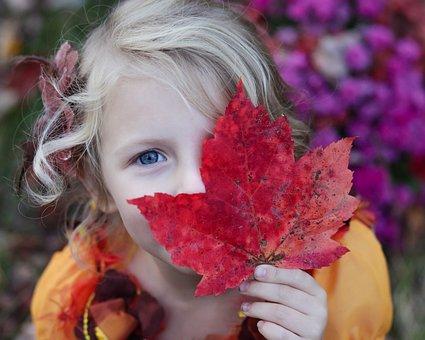Girl, Kid, Child, Daughter, Family, Maple Leaf, Fall