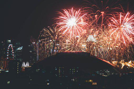 Fireworks, City, Urban, Night, New Year, Lights