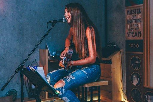People, Singing, Girl, Beauty, Guitar, Music, Room