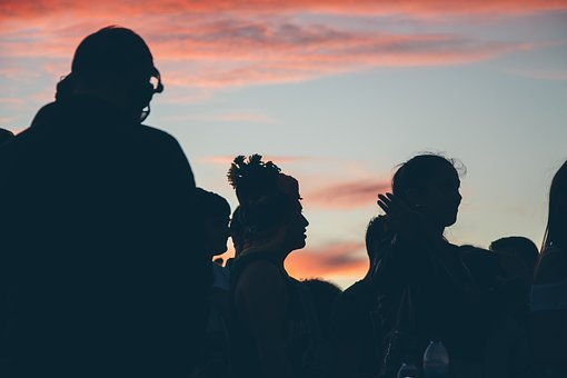 Silhouette, People, Crowd, Girls, Man, Dark, Sky