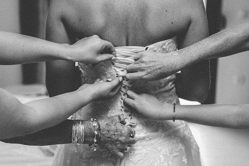 People, Girls, Wedding, Dress, Gown, Bride, Hands