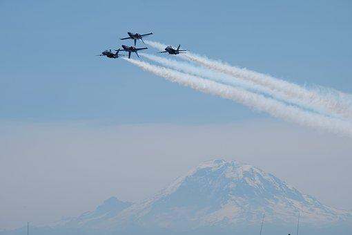 Jet, Plane, Travel, Trip, Flight, Sky, Blue, Mountain