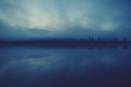 Lake, Water, Reflection, Mist, Fog, Night, Dark, Trees