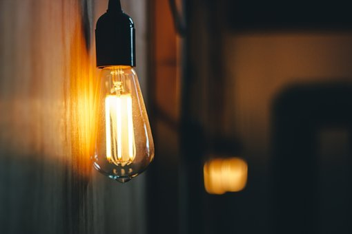 Dark, Room, Lamp, Light, Bulb, Blur, Electricity
