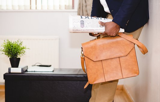 Guy, Man, Business, Newspaper, Leather, Bag, Suitcase