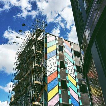 Building, Mall, Wall, Light, Bulb, Billboard