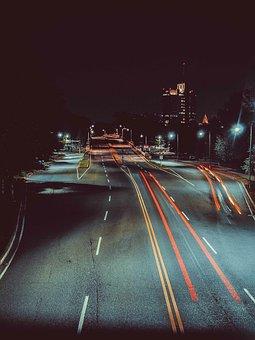 Night, Dark, Sky, City, Light, Trees, Road