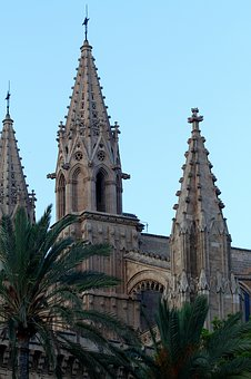 Mallorca Spain, Cathedral, Spires, Palma, Architecture
