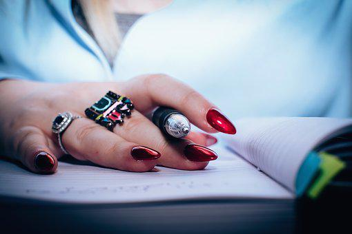 Notebook, Pen, People, Girl, Hand, Ring, Nail, Art