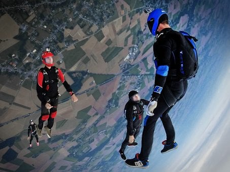 Sky, Dive, Sport, People, Men, Aerial, View, Shoes