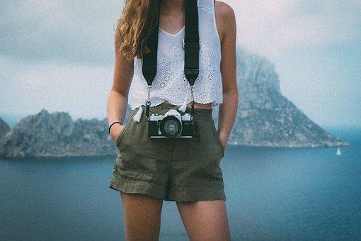 Girl, Woman, Photographer, Camera, Lens, Shorts