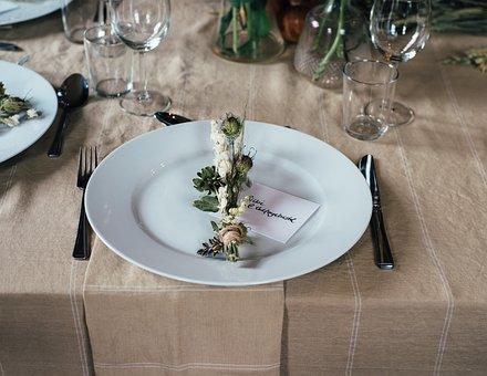 Plate, Spoon, Fork, Bread Knife, Cutlery, Table, Cloth