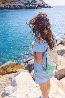 Coast, Ocean, Sea, Water, Nature, Rocks, Blue, Girl