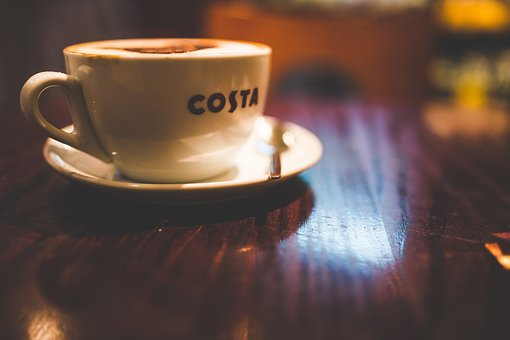 Coffee, Shop, Costa, Cup, Saucer, Table