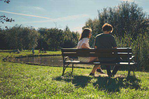 Couple, People, Girl, Guy, Sitting, Bench, Dating