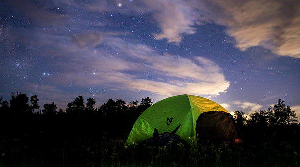 Night, Tent, Camping, Woods, Forest, Star, Galaxy