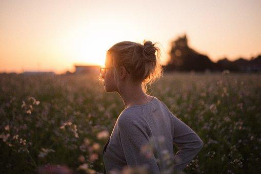 Sunlight, Sunset, Girl, Flowers, Field, Blur, Bokeh