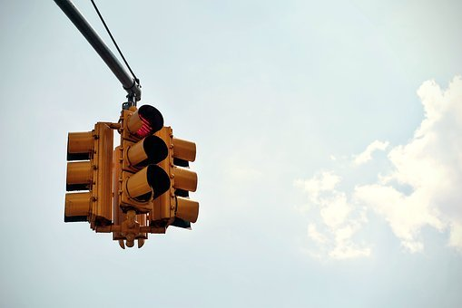Traffic, Light, Intersection, City, Sky, Clouds