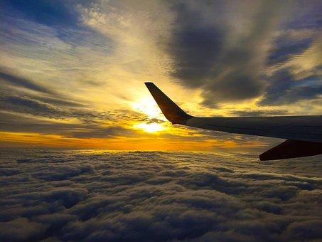 Airplane, Travel, Trip, Flight, Clouds, Sky, Sunset