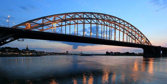 Netherlands, Nijmegen, River, Waal, Waalbridge