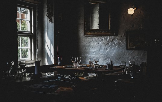 Dark, Restaurant, Table, Setup, Drink, Wine, Glass