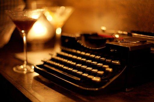 Typewriter, Keyboard, Table, Display, Lamp, Light, Wine