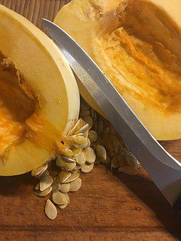 Pumpkin, Pips, A Vegetable, Seeds, Half, Inside, Knife