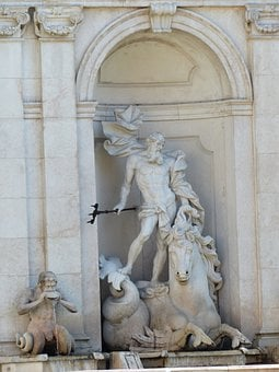 Arched Niche, Monumental, Sculpture, Sea God, Neptune