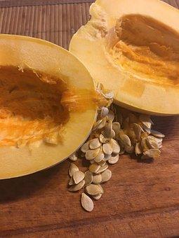 Pumpkin, Pips, A Vegetable, Seeds, Half, Inside