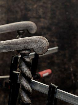 Arm Chair, Antique Oak, Barley Twist, Clamps