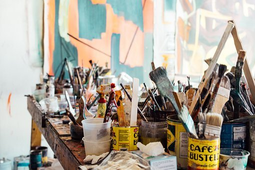 Still, Items, Things, Paint, Brushes, Tin, Cans, Table