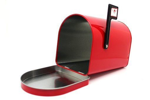 Mailbox, Red, Mail, Letter, Box, Metallic, Flag