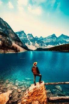 Moraine Lake, Water, Canada, Tourism, Sky, Clouds