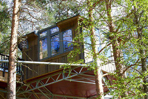 House, Cabin In The Air, Suspended, Vacuum, Nature