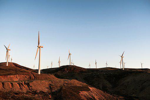 Windmill, Turbine, Clouds, Sky, Soil, Energy