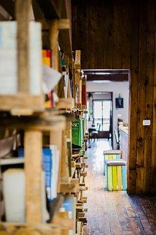 Library, Shelves, Books, Wood, Panels, Hallway